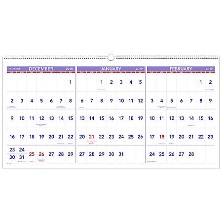 """AT-A-GLANCE® 3-Month 15-Month Reference Horizontal Wall Calendar, 23 1/2"""" x 12"""", December 2018 to February 2020"""