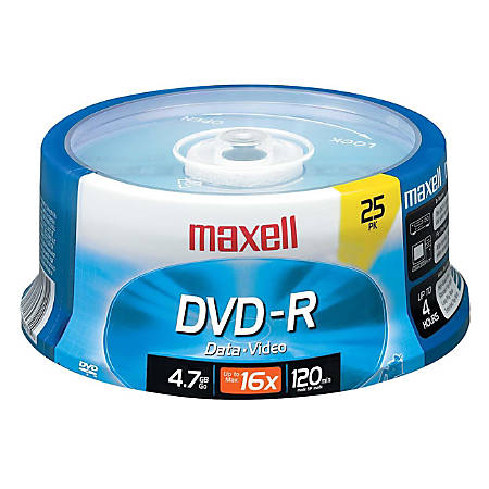 Maxell® DVD-R Recordable Media Spindle, 4.7GB/120 Minutes, Pack Of 25