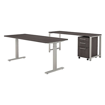 "Bush Business Furniture 400 Series 72""W x 30""D Height Adjustable Standing Desk With Credenza And Storage, Storm Gray, Premium Installation"