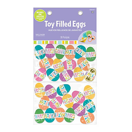 """Amscan Pre-Filled Easter Eggs With Prizes, 3"""" x 2"""", Assorted Colors, Pack Of 30 Eggs"""