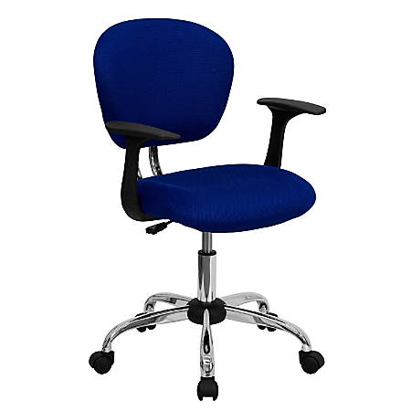 Flash Furniture Mesh Mid-Back Swivel Task Chair With Arms, Blue/Silver