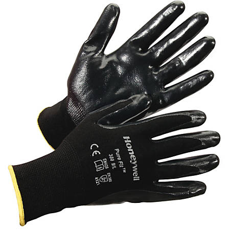 Honeywell Pure Fit Dipped General Gloves - Nitrile Coating - Medium Size - Synthetic Fiber, Nylon Liner - Black - Lightweight, Cut Resistant, Abrasion Resistant, Durable, Splash Resistant, Comfortable, Breathable, Fatigue-free, Nick Resistant