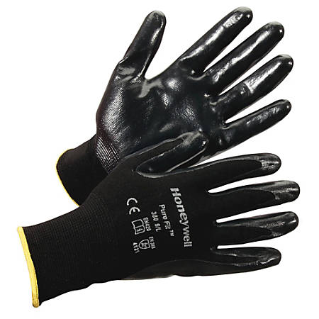 Honeywell Pure Fit Dipped General Gloves - Nitrile Coating - Medium Size - Synthetic Fiber, Nylon Liner - Black - Lightweight, Cut Resistant, Abrasion Resistant, Durable, Splash Resistant, Comfortable, Breathable, Fatigue-free, Nick Resistant - For A