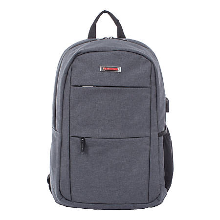 "Swiss Mobility Elevate Business Backpack With 15.6"" Laptop Pocket, Gray"
