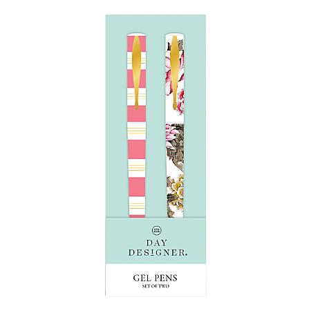 Blue Sky™ Day Designer Gel Pens, Medium Point, 0.7 mm, Assorted Barrel Colors, Black Ink, Pack Of 2 Pens