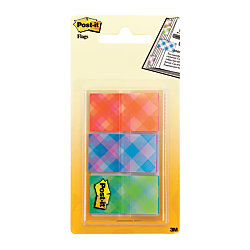 """Post-it® Printed Message Flags, 1"""" x 1 7/10"""", Plaid Design, 20 Flags Per Pad, Pack Of 60 Flags"""