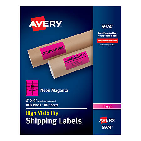 """Avery® High-Visibility Shipping Labels, AVE5974, 2"""" x 4"""", Neon Magenta, Box Of 1000"""