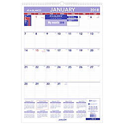 At A Glance Monthly Wall Calendar   X   Bluered January To