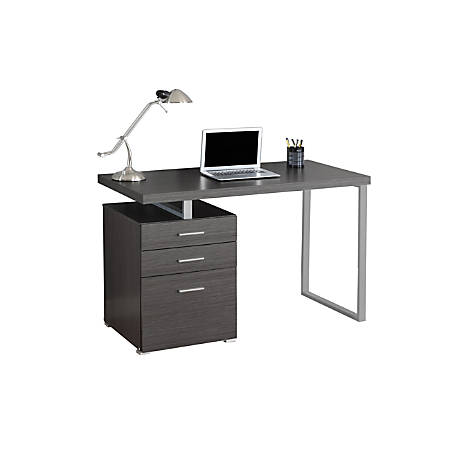 Monarch Specialties Computer Desk With Left/Right Pedestal, Gray