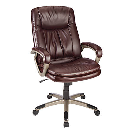 Realspace® Harrington II High-Back Chair, Burgundy/Champagne
