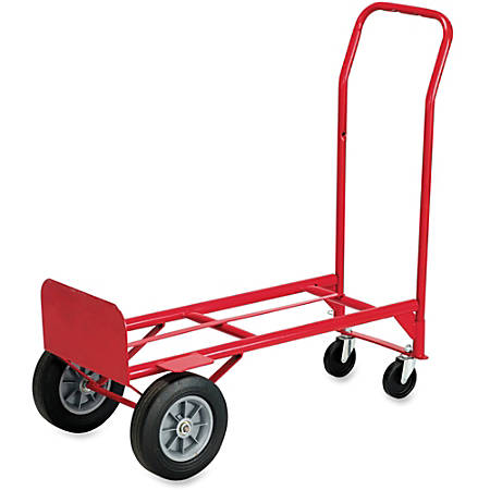 "Safco® Heavy-Duty Convertible Handle Truck, 500-600 Lb. Capacity, 10"" Wheel"