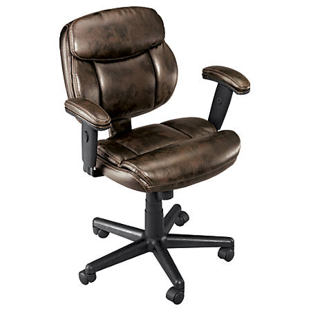 Brenton Studio Ariel Bonded Leather Low-Back Task Chair, Brown