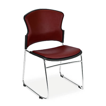 OFM Multi-Use Anti-Microbial Anti-Bacterial Stack Chairs, Wine/Chrome, Set Of 4
