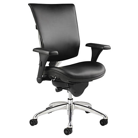 WorkPro® 768E Commercial Leather High-Back Chair, Black