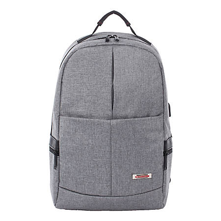 """Swiss Mobility Sterling Slim Business Backpack With 15.6"""" Laptop Pocket, Gray"""