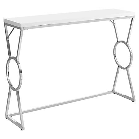 Monarch Specialties Accent Table, Rectangular, Glossy White/Chrome