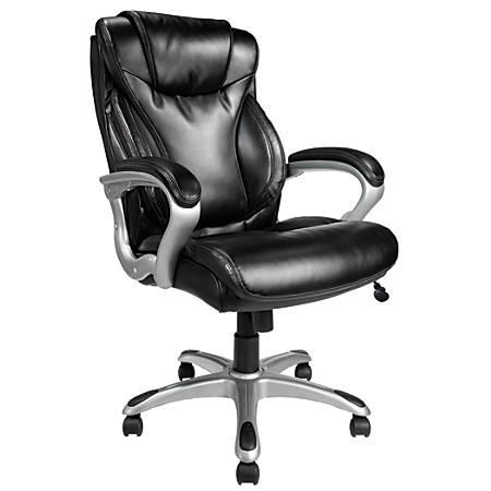 Realspace® EC620 Executive High-Back Chair, Black/Silver