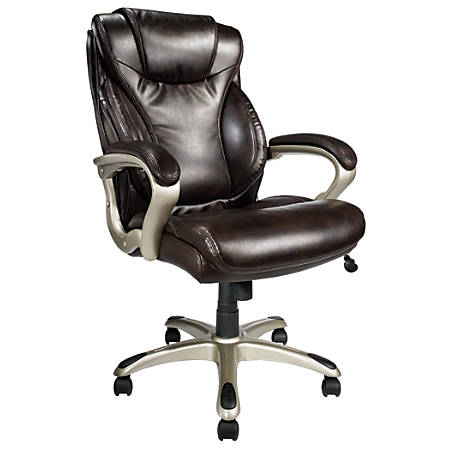 Realspace® EC620 Executive High-Back Chair, Brown/Silver