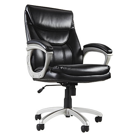 Realspace® EC600 Executive High-Back Chair, Black/Silver