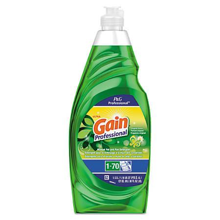 Gain® Professional Manual Pot And Pan Dish Detergent, Original Scent, 38 Oz, Pack Of 8