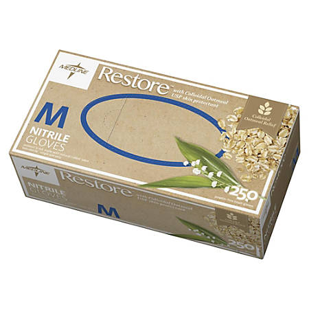 Medline Restore Nitrile Exam Gloves With Colloidal Oatmeal, Medium, Off White, Box Of 250