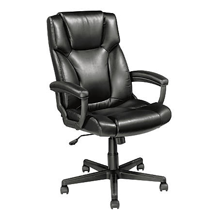 Realspace® Breckland Leather High-Back Chair, Black
