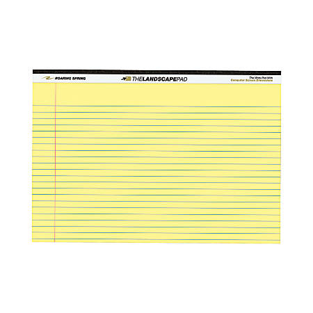 "Roaring Spring Wide Landscape Canary Writing Pads - 40 Sheets - 0.28"" Ruled - 20 lb Basis Weight - 11"" x 9 1/2"" - Canary Paper - Recycled - 1Each"