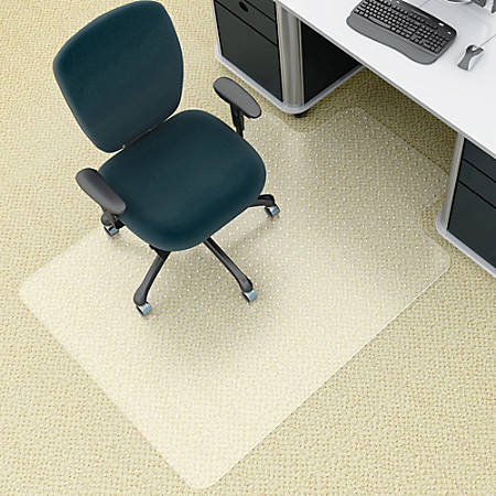 "Deflect-O® EnvironMat Chair Mat For Low Pile Carpets, 45"" x 53"", Wide Lip, Clear"