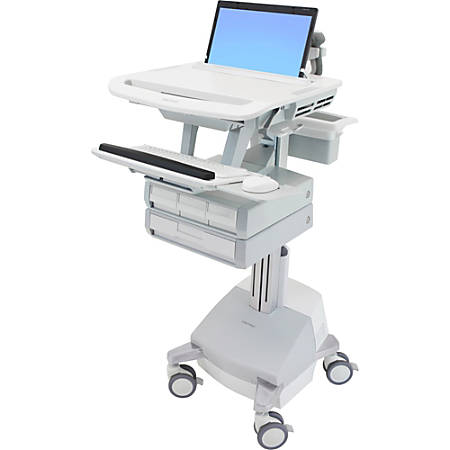 """Ergotron StyleView Laptop Cart, SLA Powered, 4 Drawers - Up to 17.3"""" Screen Support - 21 lb Load Capacity - 50.5"""" Height x 18.3"""" Width x 30.8"""" Depth - Floor Stand - Aluminum - White, Gray"""