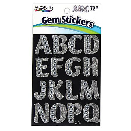 "Artskills® Gem Alphabet Stickers, Large, 1 1/4"", Custom, Silver, Pack Of 72"