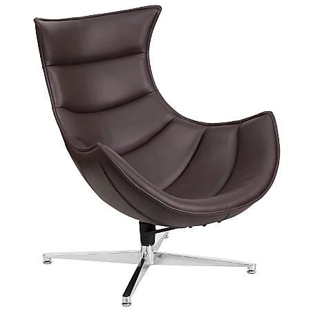 Flash Furniture Cocoon Swivel Chair, Dark Brown/Silver