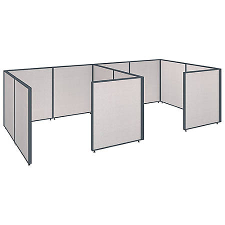 """Bush Business Furniture ProPanels 2-Person Closed Cubicle Office, 43""""H x 149 13/16""""W x 76""""D, Light Gray, Standard Delivery"""