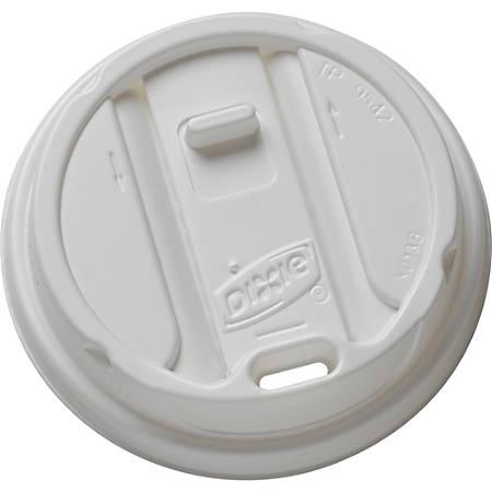 Dixie Smart Top Reclosable Hot Cup Lids - Round - Plastic - 100 / Pack - White