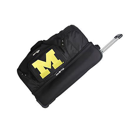 Denco Sports Luggage Rolling Drop-Bottom Duffel Bag, Michigan Wolverines, Black