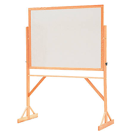 "Quartet® Reversible Melamine Dry-Erase Board With Oak Wood Frame, 48"" x 72"" (Casters Sold Separately)"