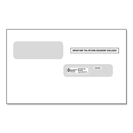 "ComplyRight™ Double-Windows Envelopes For W-2C Forms, 5 5/8"" x 9 1/4"", White, Pack Of 100 Envelopes"