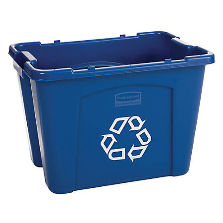 """Rubbermaid® Computer Paper Collection """"We Recycle"""" Container, 14 Gallons, 13 1/2""""H x 20""""W x 15""""D, Blue"""