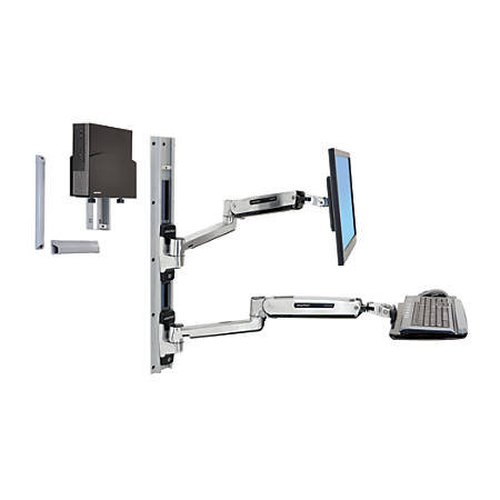 Ergoron LX Sit-Stand Wall Mount System With CPU Holder, Black/Silver, 45-359-026