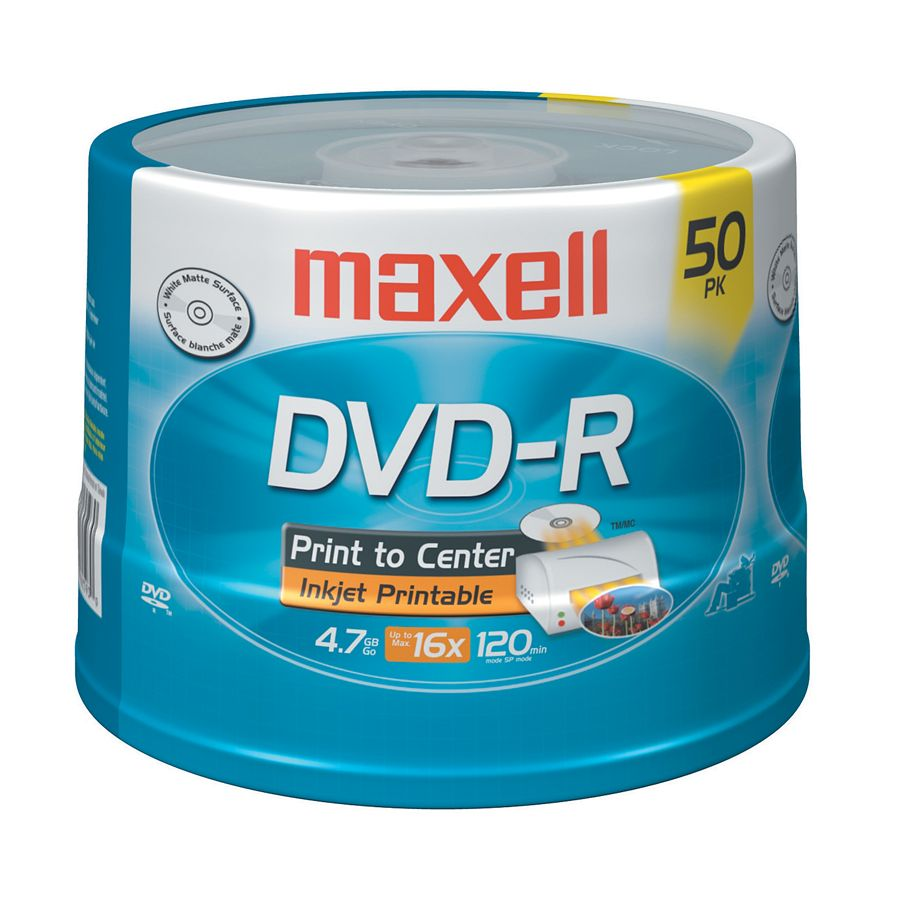 photo relating to Printable Dvd-r referred to as Maxell® DVD-R Recordable Printable Media Spindle, Matte, 4.7GB/120 Minutes, Pack Of 50 Products # 495128