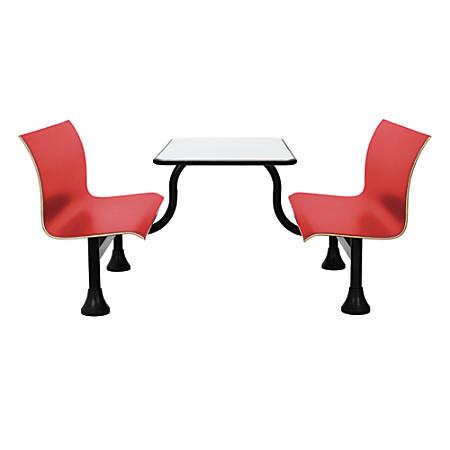 "OFM Retro Bench, 24"" x 48"" Tabletop, 39 1/2""H x 68""W x 48""D, Red Bench/Black Frame"
