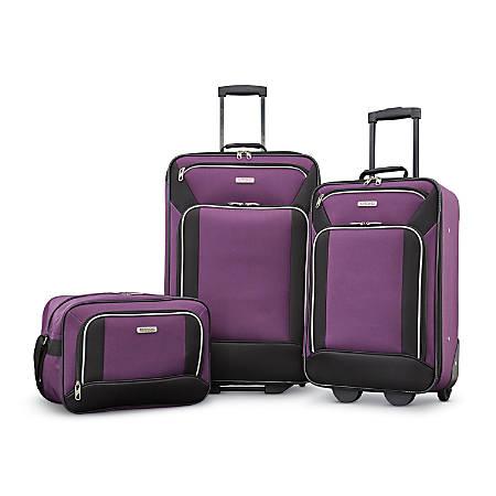 American Tourister® Fieldbrook XLT Polyester 3-Piece Luggage Set, Black/Purple