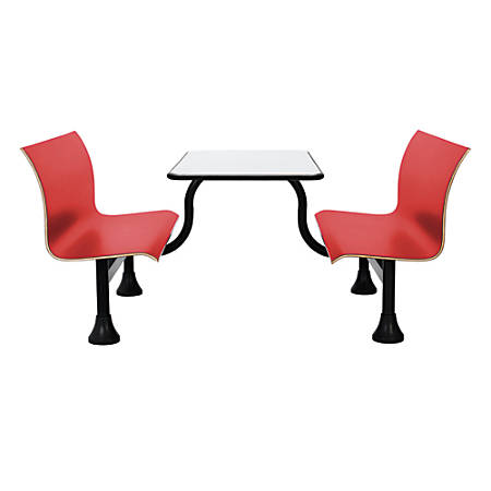 "OFM Retro Bench, 30"" x 48"" Tabletop, 39 1/2""H x 68""W x 48""D, Red Bench/Black Frame"