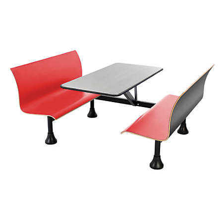 "OFM Retro Bench, 30"" x 48"" Tabletop, 39 1/2""H x 68""W x 48""D, Red Bench/Black Frame"