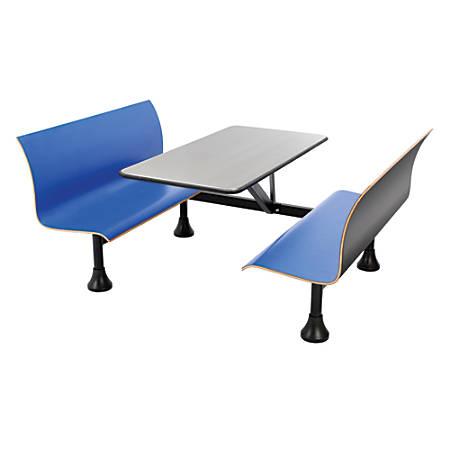 "OFM Retro Bench, 30"" x 48"" Tabletop, 39 1/2""H x 68""W x 48""D, Blue Bench/Black Frame"