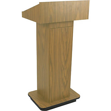 """AmpliVox W505 - Executive Non-sound Column Lectern - Rectangle Top - Sculpted Base - 20.75"""" Table Top Width x 16.50"""" Table Top Depth - 47"""" Height x 22"""" Width x 18"""" Depth - Assembly Required - High Pressure Laminate (HPL), Light Oak"""