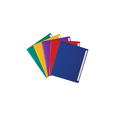 """Office Depot® Brand Extended Tab Twin-Pocket Portfolio, 8 1/2"""" x 11"""", Assorted Colors"""