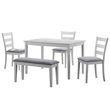 Monarch Specialties Eva Dining Table With Bench And 3 Chairs, White