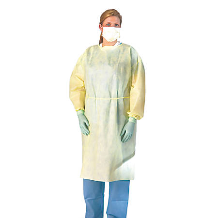 Medline Polypropylene Fluid-Resistant Isolation Gowns, Regular/Large, Yellow, 10 Gowns Per Box, Case Of 10 Boxes