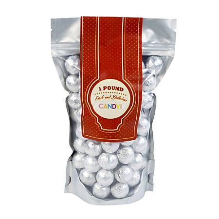 Sweetworks Foil-Wrapped Solid Milk Chocolate Balls, 1 Lb, Silver