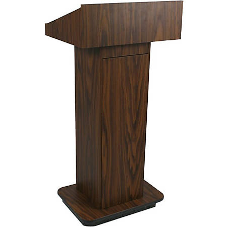 "AmpliVox W505 - Executive Non-sound Column Lectern - Rectangle Top - Sculpted Base - 20.75"" Table Top Width x 16.50"" Table Top Depth - 47"" Height x 22"" Width x 18"" Depth - Assembly Required - High Pressure Laminate (HPL), Walnut"